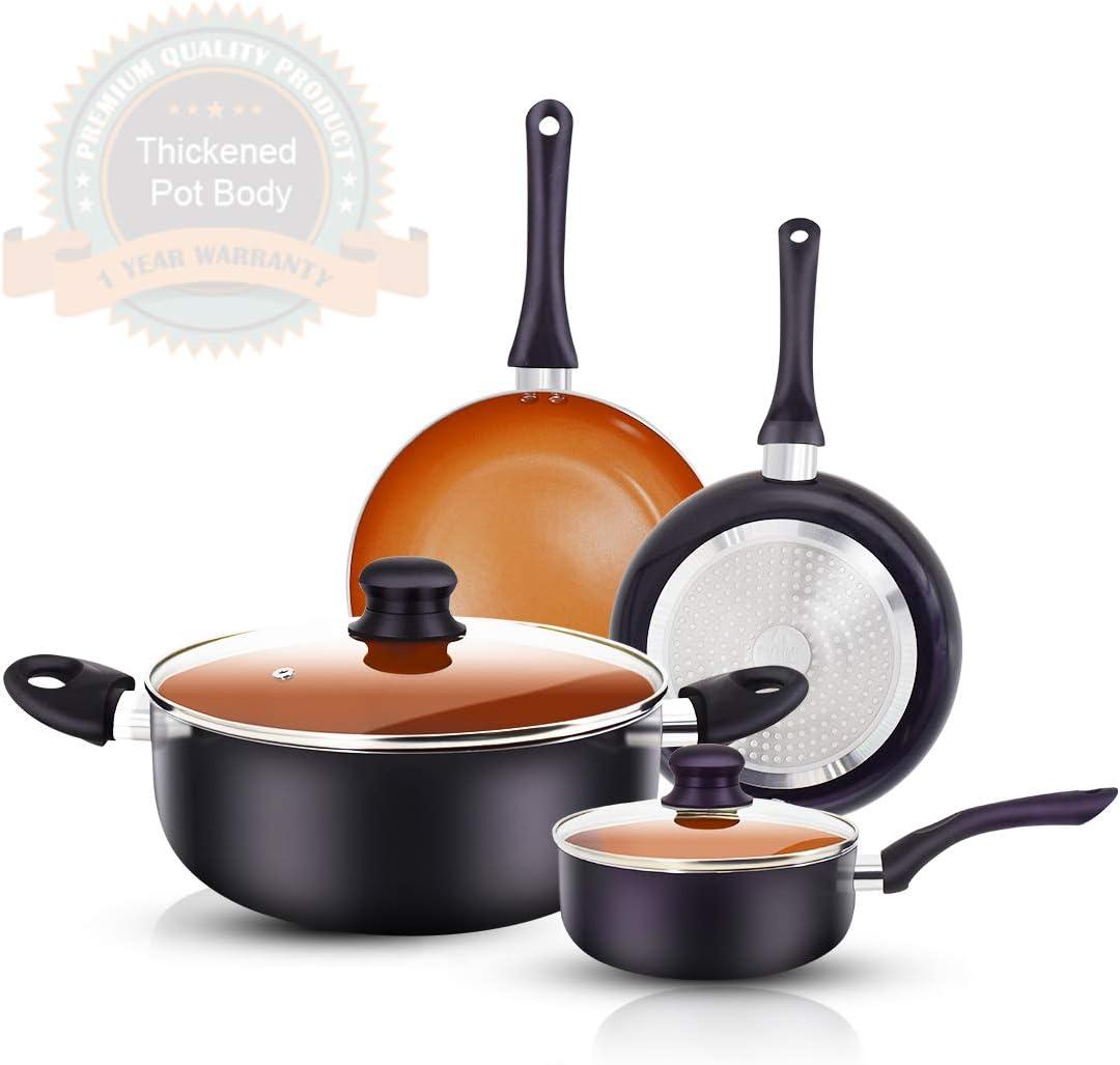 FRUITEAM 6pcs Cookware Set Ceramic Nonstick Soup Pot/Sauce Pan/Frying Pans Set, Copper Aluminum Pan with Lid, Induction Gas Compatible, Black