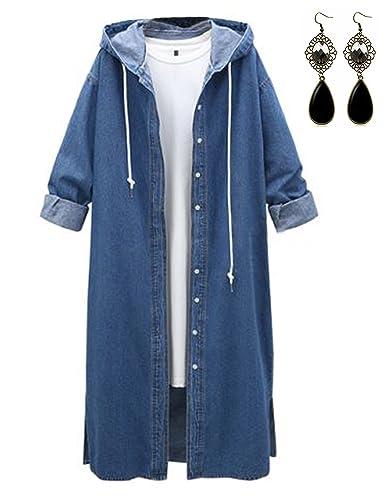 M-Queen Mujer Denim Abrigos Parka de Mezclilla Manga Larga Chaqueta Casual Vintage Encapuchado Jeans Abrigo Jacket Outwear