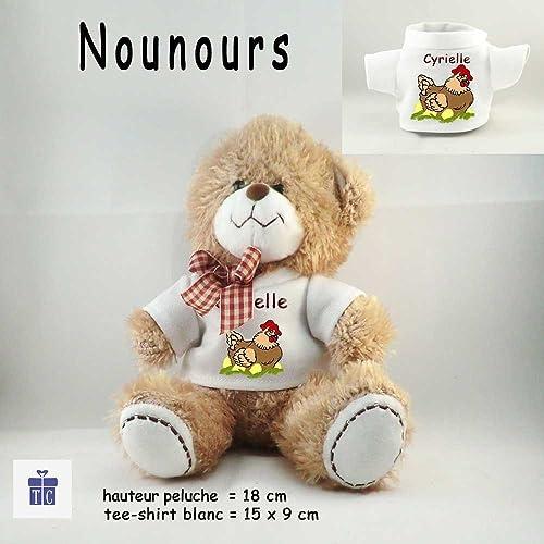Peluche Nounours- Tee shirt Poule- Personnaliser avec Prénom exemple ...