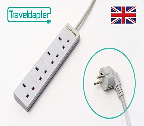 European Travel Adaptor Plug Lead Adapter Extension UK to Euro Cable