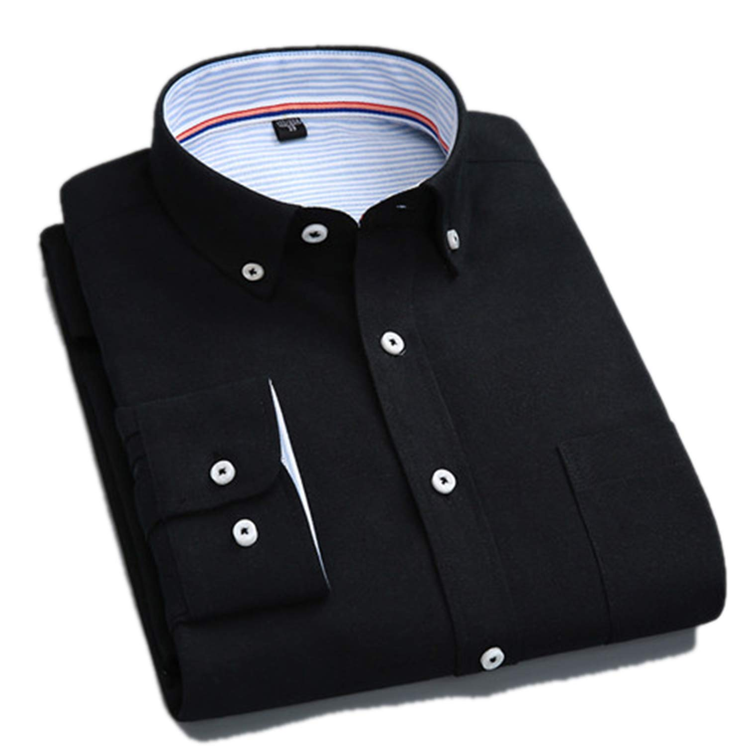 Oxford Fabric Long-Sleeved Button Collar Easy Care Solid Mens Casual Shirts
