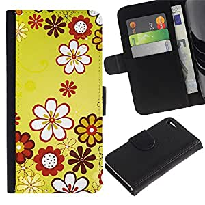 iBinBang / Flip Funda de Cuero Case Cover - Diseño Floral Flores Amarillas - Apple iPhone 4 / 4S