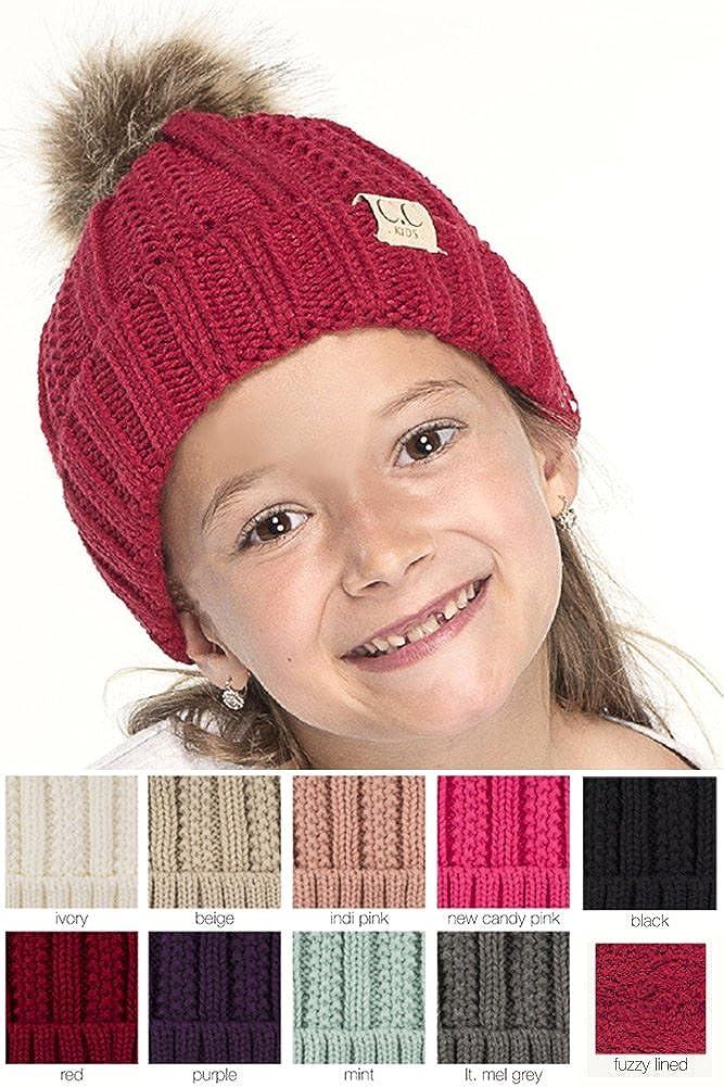 ScarvesMe Exclusive 2-7yrs Fuzzy Fleece Lined Baby Kids Toddler Children Winter Beanie with Pom Pom
