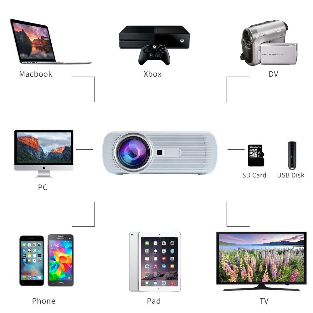 Yuntab Proyector Port/átil Alto l/úmen1080P HIMI Para juegos cine en casa