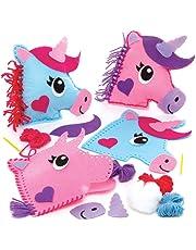 Baker Ross- Kits de Costura de Cojines de Unicornio con Decoraciones de Fieltro (Pack