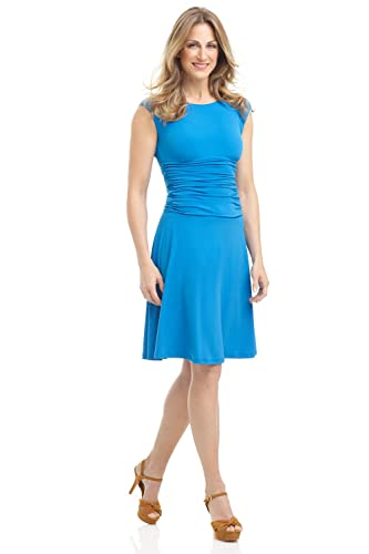 Rekucci Women's Slimming Pull on Fit and Flare Tummy Control Dress w/ Cap Sleeves