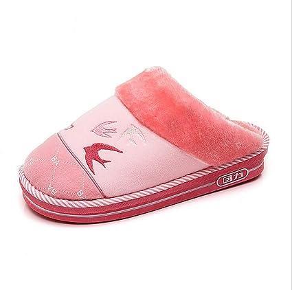 SHANGXIAN Invierno Interior Pantuflas Peludo Hogar Mujer Calentar Suelas Antideslizantes Forro De Felpa Zapatos Chancletas,