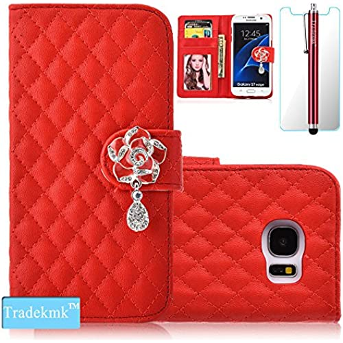 Galaxy S7 Case,S7 Case, Tradekmk(TM); Camellia Design PU Leather Card Holders And Stand Wallet Phone Case (Red Sales