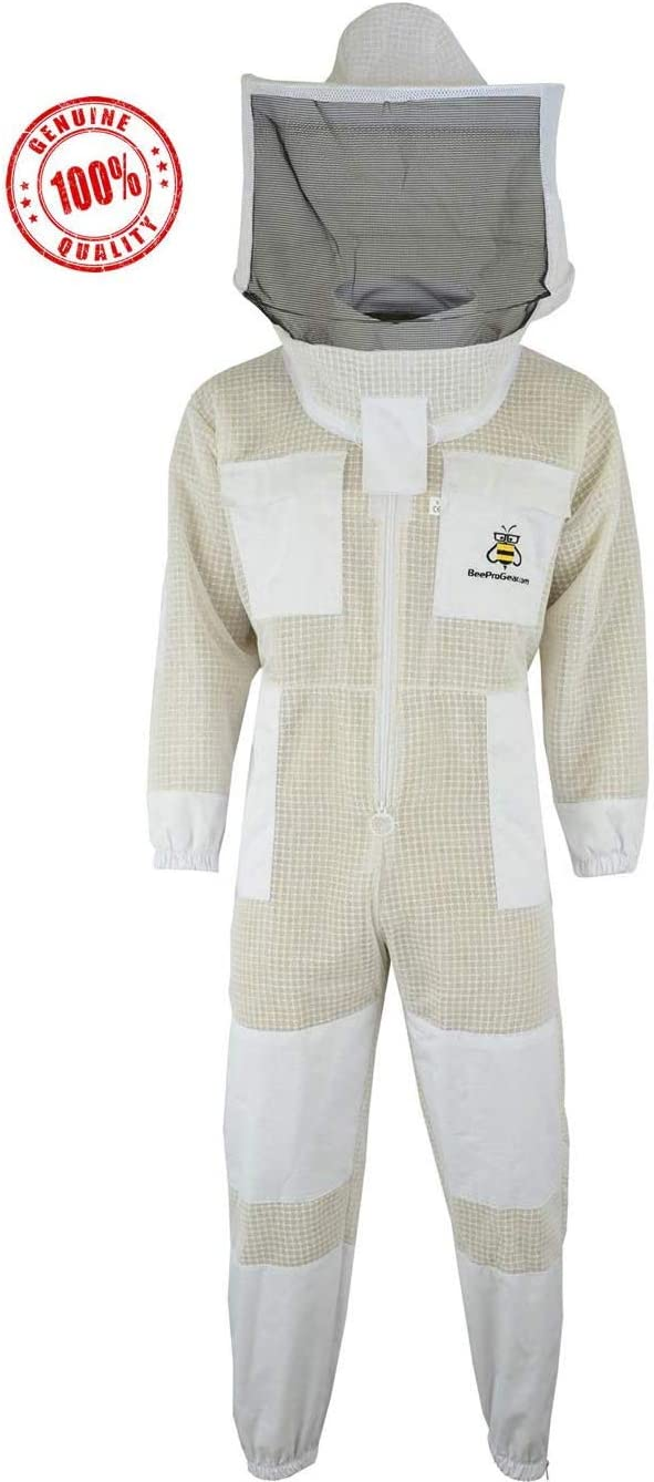 3X Layers Unisex White Mesh Beekeeping Suit for bees Fully Ventilated Bee Keeping Suit with FREE GLOVES Protection from bees for honey extraction