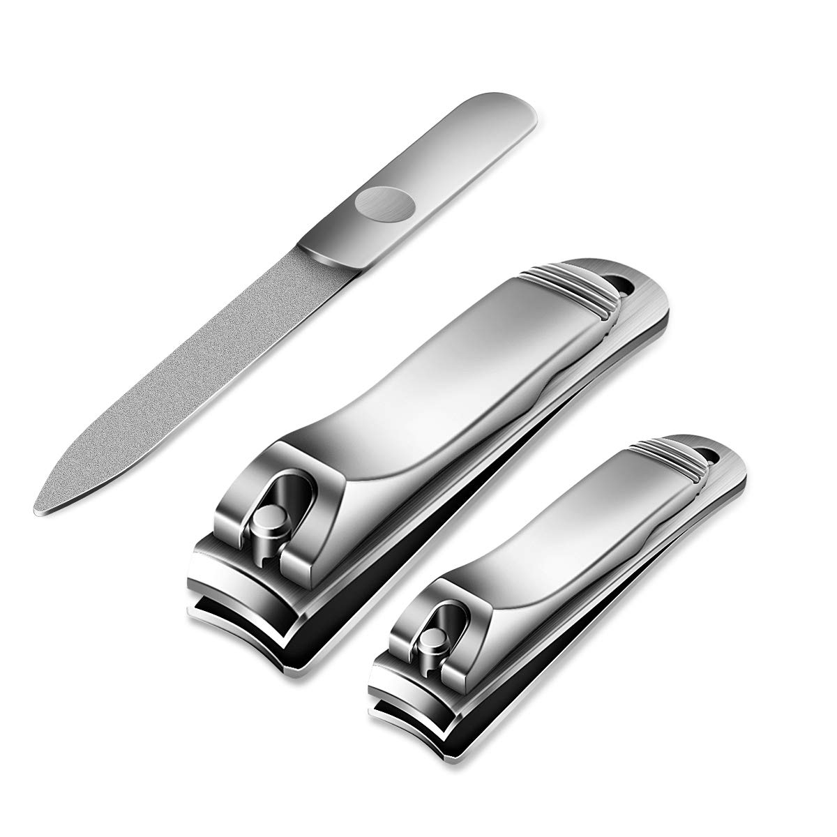 ETEREAUTY Nail Clippers Set with Nail file Stainless Steel Fingernails Toenails Clippers Sharp Nail Cutter in Leather Case (3Pcs)