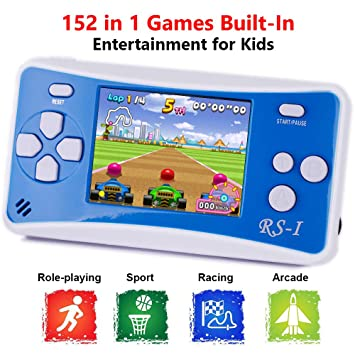 QINGSHE Retro Handheld Game Console for Kids,Classic Arcade Video Gaming  System Playstation, 2 5