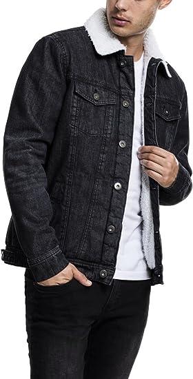 Urban Classics Sherpa Denim Jacket Jeansjacke Winter schwarz
