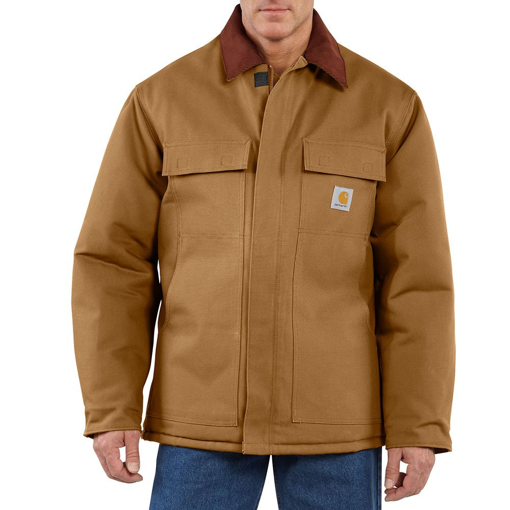 Carhartt Men's Big & Tall Arctic Quilt Lined Duck Traditional Coat C003,Brown,XXX-Large Tall