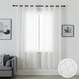"""MOUTAINWIND Curtains 52""""×96"""" White Moroccan Quatrefoil Curtain for Living Room Semi Sheer Window Drapes for Bedroom Darkening Grommet Top, 2 Panels"""