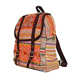 ETHNIC LANNA Orange Hmong Hand Stitching Embroidered Backpack Travel Holiday Bag Bohemian Gypsy Design
