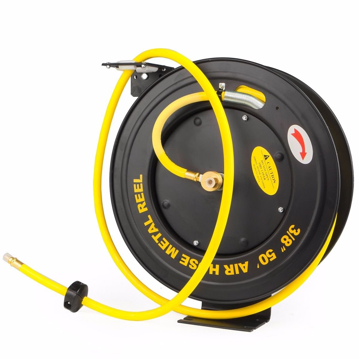 XtremepowerUS Auto-Rewind Retractable 50-Ft x 3/8-Inch Air Hose Reel with Rubber Hose