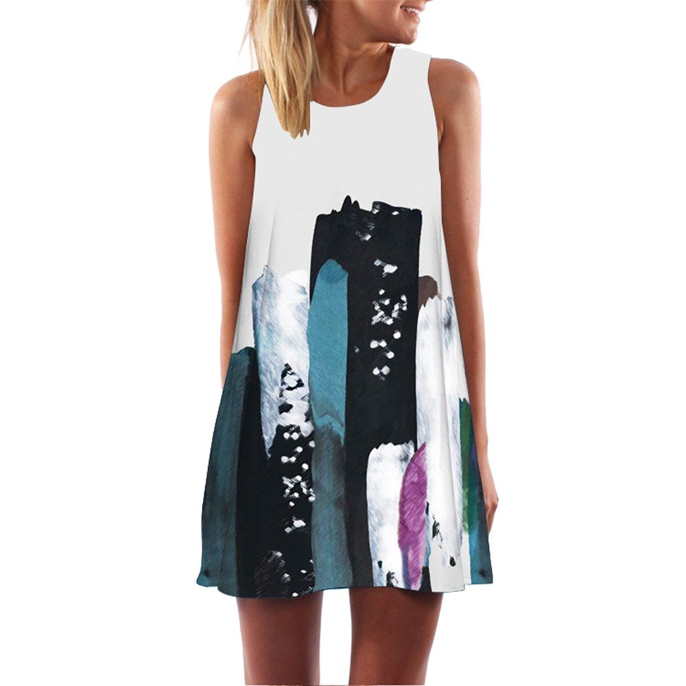 SIRIAY Women Dress Vintage Boho Lady Summer Sleeveless Beach Floral Printed Short Mini Dresses