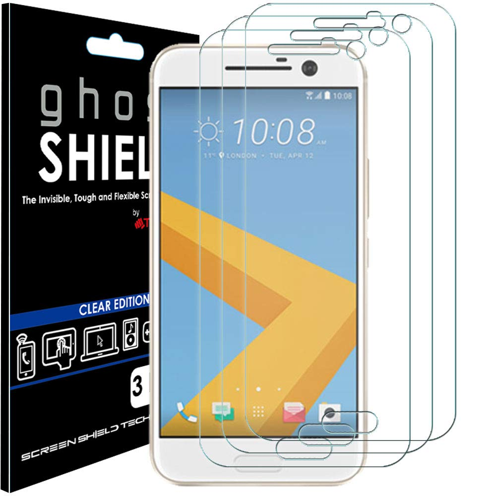 TECHGEAR [3 Pack] Screen Protectors to fit HTC 10 [ghostSHIELD Edition] Genuine Reinforced Flexible TPU Screen Protector Guard Covers with Full Screen Coverage inc Curved Screen