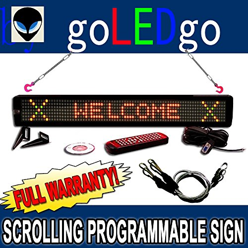 goLEDgo Ultra Brightness 3-Color Programmable Scrolling LED Message Marquee Sign (Size: 4