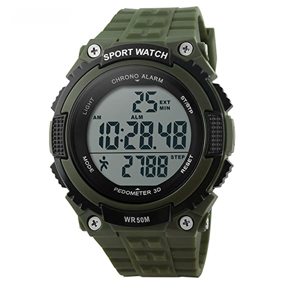 bozlun para mujer para hombre reloj Digital con podómetro cronómetro resistente al agua pantalla LED Militar deportes reloj de pulsera: Amazon.es: Relojes