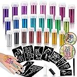 INGALA Pro Glitter Tattoo Kit. 24 Extra Fine Glitter Colors, PRO Tattoo Stencils and Glitter Tattoo Glue for The Perfect Glitter Tattoos Set
