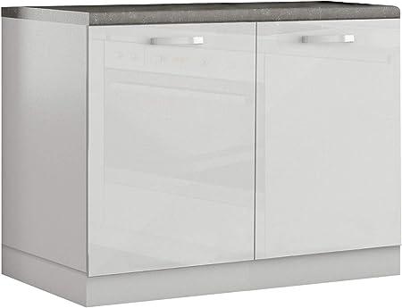 Meuble Bas De Cuisine Design 100 Cm Avec 2 Portes Coloris Blanc
