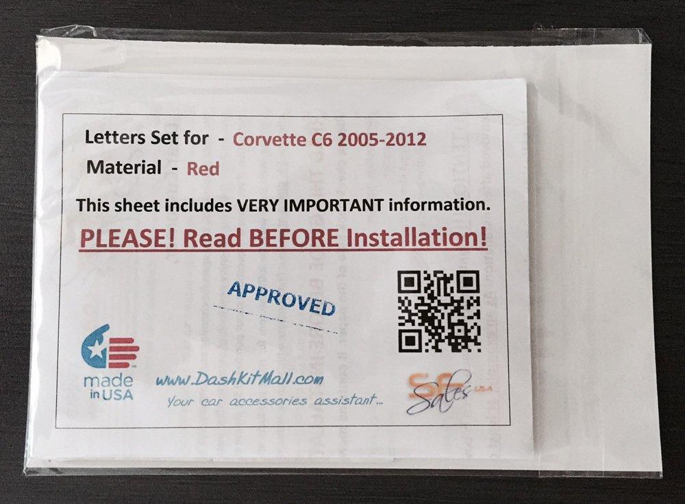 Red Letters for Chevrolet Corvette C6 2005-2012 Rear Bumper Inserts Not Decals CORVETTE/_C6-LTR-R SF Sales USA