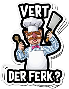 3 PCs Stickers Vert Der Ferk Vert Der Ferk Chef Knife 4 × 3 Inch Vinyl Die-Cut Decals for Laptop Window