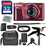 Canon PowerShot SX720 HS Digital Camera with Premium Accessory Kit (Red) including Memory Card, Grip Flexible Table Tripod, HDMI Cable & More.
