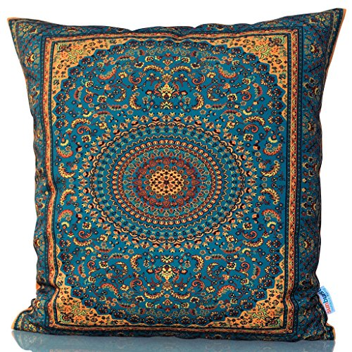 Sunburst Outdoor Living 18'' x 18'' (No Piping) OPULENT Ornate Moroccan Decorative Throw Pillow Cushion Cover for Couch, Bed, Sofa or Patio - Only Case, No Insert by Sunburst Outdoor Living