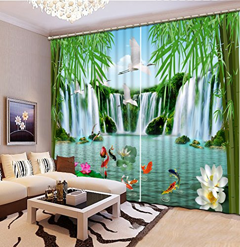 Sproud Hight Quality 3D Printing Curtains Lifelike Blackout Cortians Beautiful Full Light Shading Bedroom Livng Room Curtains 240Dropx300Wide(Cm) 2 pieces by Sproud
