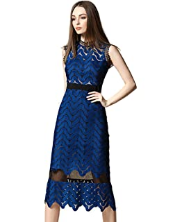 89ae8862a41d Tuliplazza Women Zigzag Tunic Sheath Cocktail Prom Party Gowns Midi Lace  Dress