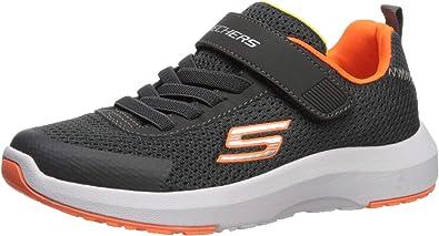Skechers Kids Boys' Dynamic Tread 98151L Sneaker, Charcoal/Orange, 3 Medium US Little Kid