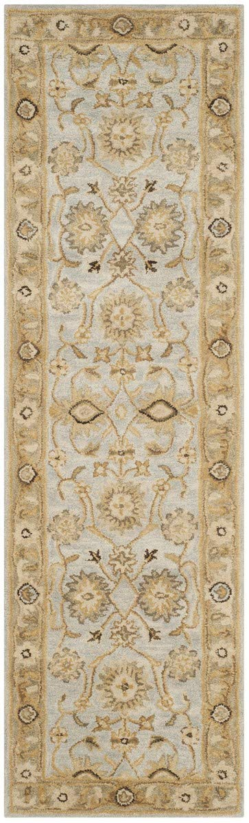 Safavieh Antiquities Collection AT856B Handmade Traditional Oriental Light Blue and Sage Wool Runner 2 3 x 12