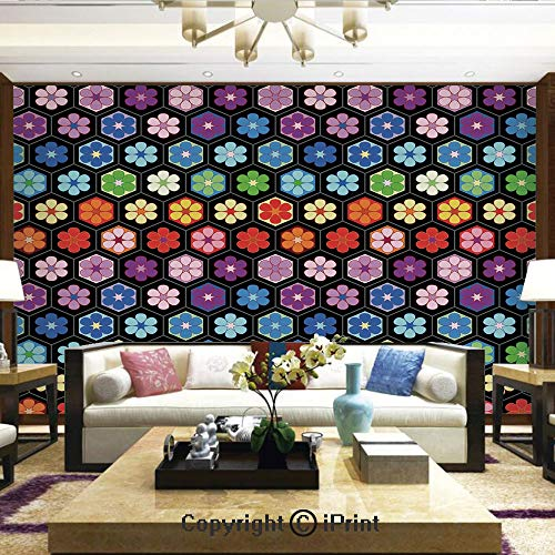 Lionpapa_mural Removable Wall Mural Ideal to Decorate Bedroom,or Office,Colorful Vibrant Daisy Blossom Motifs Classic Hexagonal Comb Pattern African Flower,Home Decor - 100x144 inches
