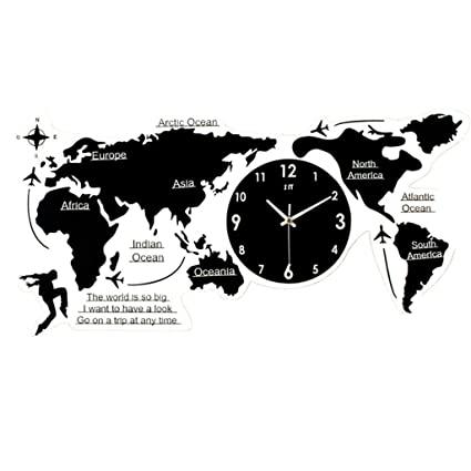 AMCER World Map Wall Clock 3D Acrylic Digital Clock Silent Non-ticking Clock Living Room