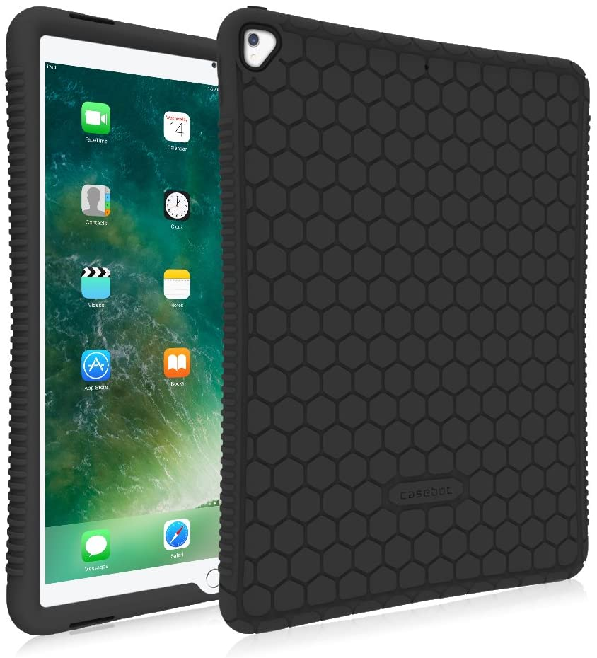 Fintie Case for iPad Pro 12.9 (2nd Gen) 2017 / iPad Pro 12.9 (1st Gen) 2015 - [Honey Comb Series] Lightweight Anti Slip Kids Friendly Shock Proof Silicone Protective Cover, Black
