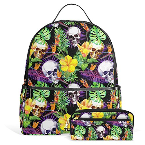 Skull Laptop Backpack, Large Cute School Bookbag Lightweight Waterproof Leather Travel Hiking Shoulder Durable Computer Bag Casual Daypack for Women Men with Pencil Case - 113 Rugby