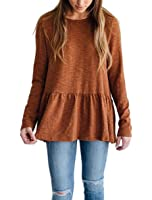 Voghtic Women's Casual Long Sleeve Round Neck Babydoll Blouse Peplum Tops Solid Color Back Button Design T Shirt