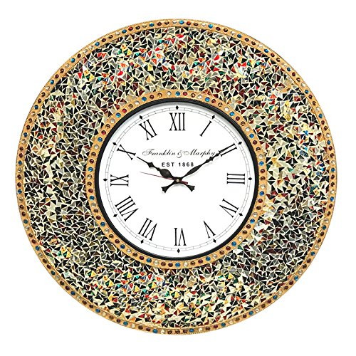 """DecorShore 23"""" Decorative Wall Clock, Silent Clock with Decorative Glass Mosaic, Oversized Wall Clock (Name) (Gemstone Rainbow - Gold, Ruby, Sapphire, Citrine & Emerald Look Multi Color) -"""