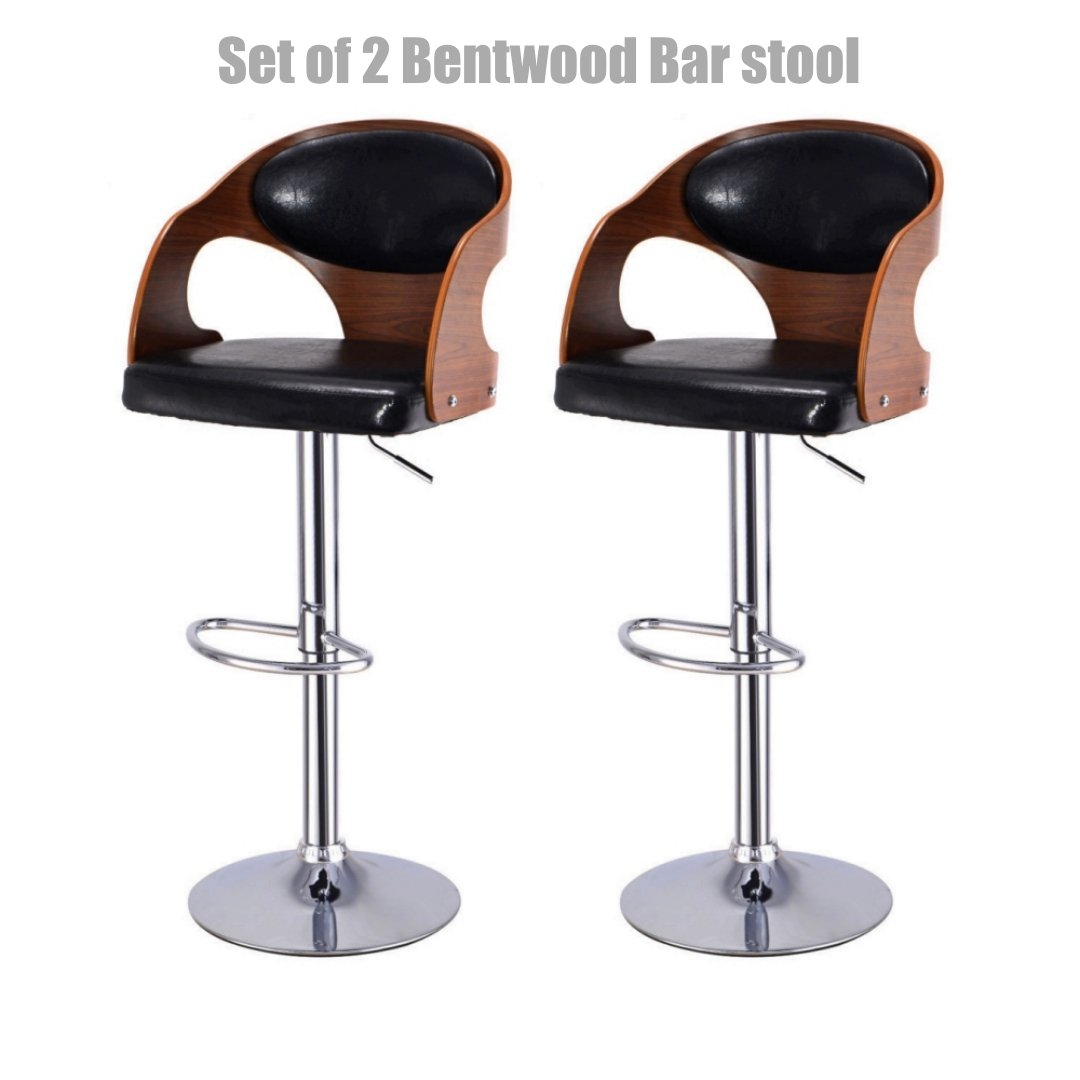 Contemporary Bentwood Bar stool Adjustable Height 360 Degree Swivel Durable Curved Design Leather Upholstery Seat Stable Footrest Chrome Steel Frame Office Pub Chair New - Set of 2 #1099