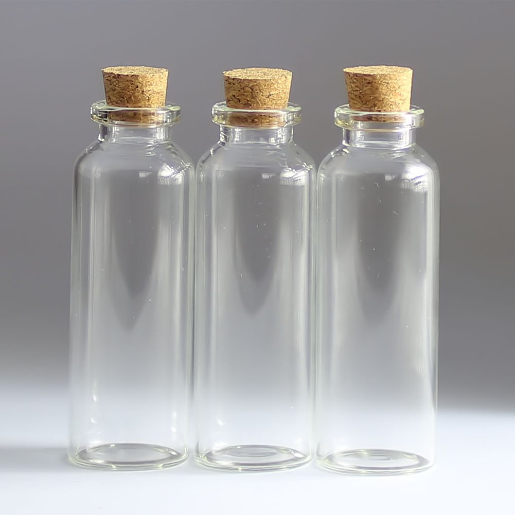 100pcs 30ml Small Mini Glass bottles Vials Jars with Cork Stoppers 30ml 2979mm(1.143.11in) Message Weddings Wish Jewelry Party Favors by Annpadar (Image #2)