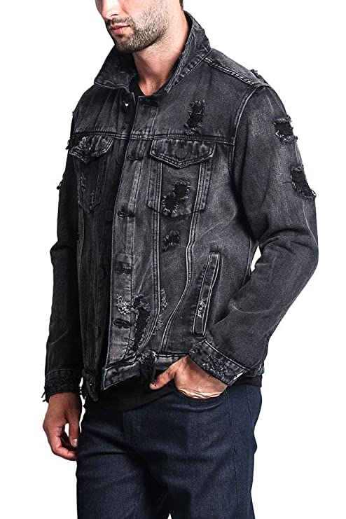 1fe4f52f892 Victorious Distressed Denim Jacket at Amazon Men s Clothing store