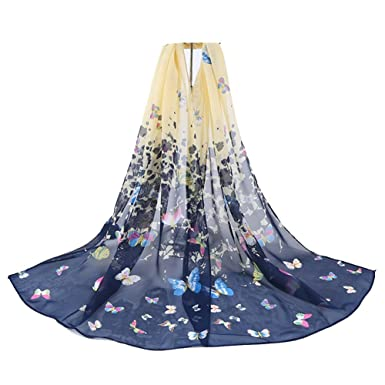101a5bbb1d71 Westeng Foulards Femme Echarpe Femme Foulards Motif de Papillon Coloré Douce  pour Femme 160   50