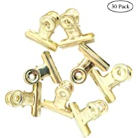 Coideal 30 Pack 1 Inch Small Bulldog Hinge Clips, Metal Binder Paper Clips File Paper Money Clamps for Tags Bags, Shops, Office and Home Kitchen (Light-Gold, 22mm)