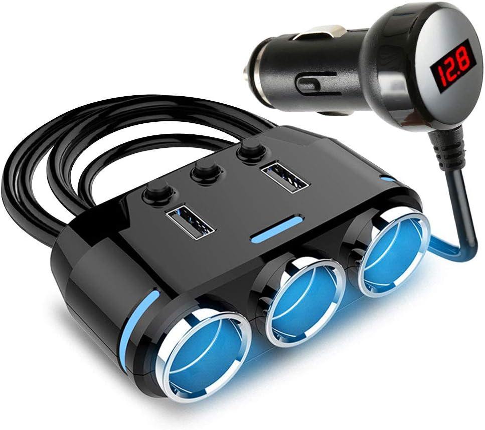 SurfMall 12V/24V Adaptador de Encendedor de Cigarrillos para automóvil 100W 3 Divisor de Enchufe con Dos Puertos USB Interruptor de Encendido/Apagado del Monitor de Voltaje LED