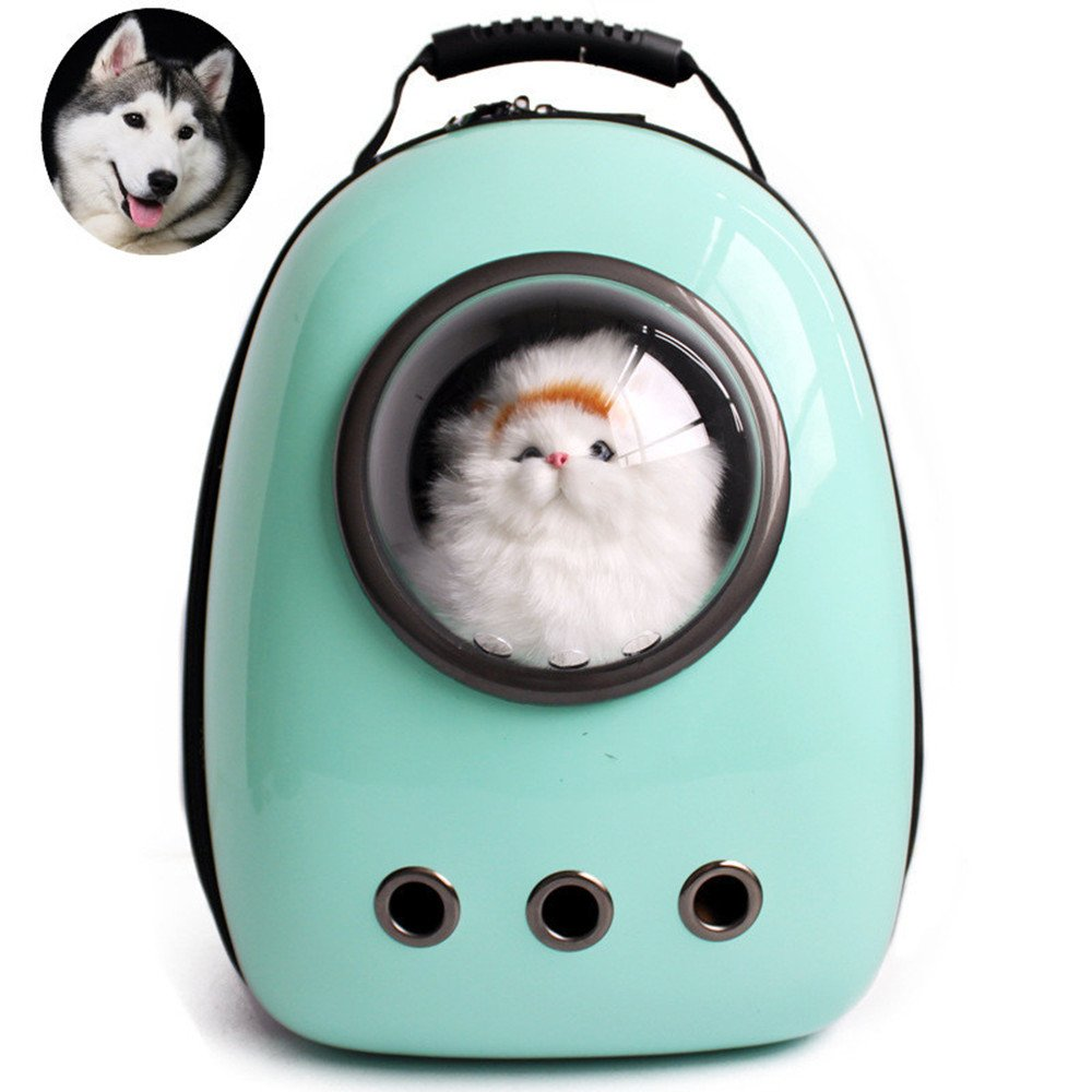 Cyan Lemonda Portable Travel Pet Carrier,Space Capsule Bubble Design,Waterproof Handbag Backpack for Cat and Small Dog Mutil colors to Choose (Cyan)