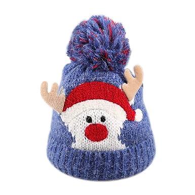 236079b795ec Hosaire Chapeau de Noel Dessin animé Cerf Enfants Fille Bonnet de Noël Épais  Doux Tricoté Béret