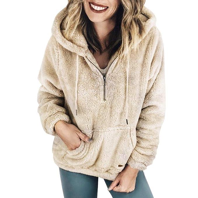 ❤ Abrigo de Felpa para Mujer, otoño Invierno Manga Larga Color Puro Abrigo de Moda Abrigo Largo Absolute: Amazon.es: Ropa y accesorios