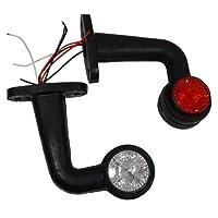 Aerzetix: Jeu de 2 Feux de gabarit position 24V à LED rouge / blanc pour camion remorque semi - C2094
